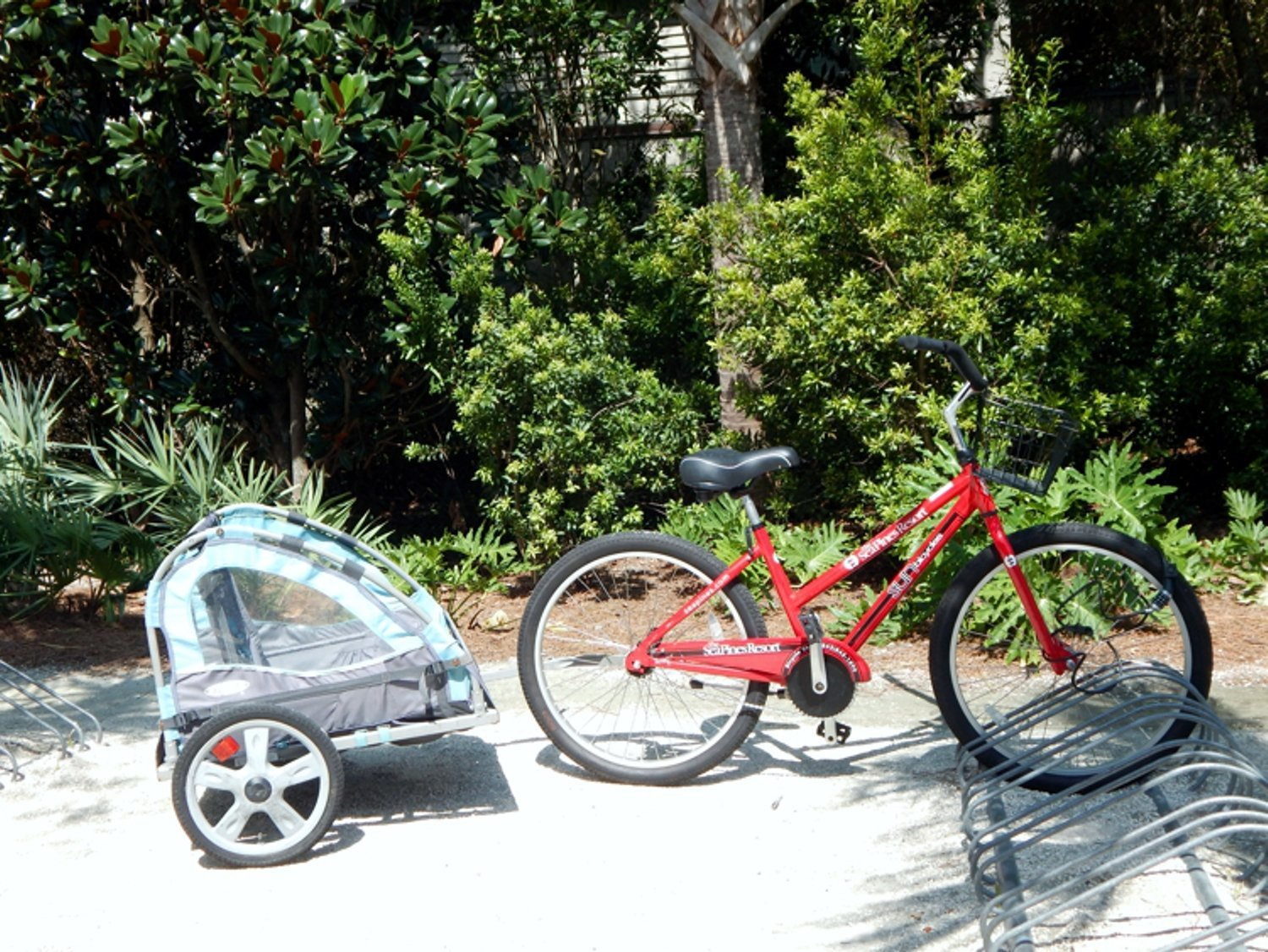 Red bicycle at Hilton Head Island beach